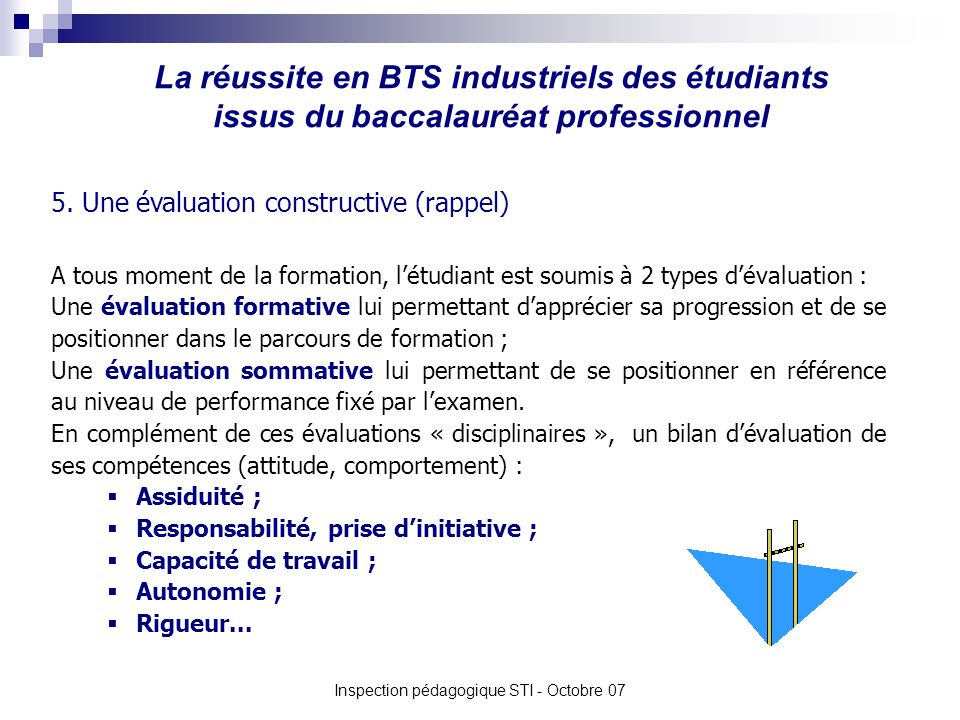 La réussite en BTS industriels des étudiants issus du baccalauréat professionnel Inspection pédagogique STI - Octobre 07 5. Une évaluation constructiv