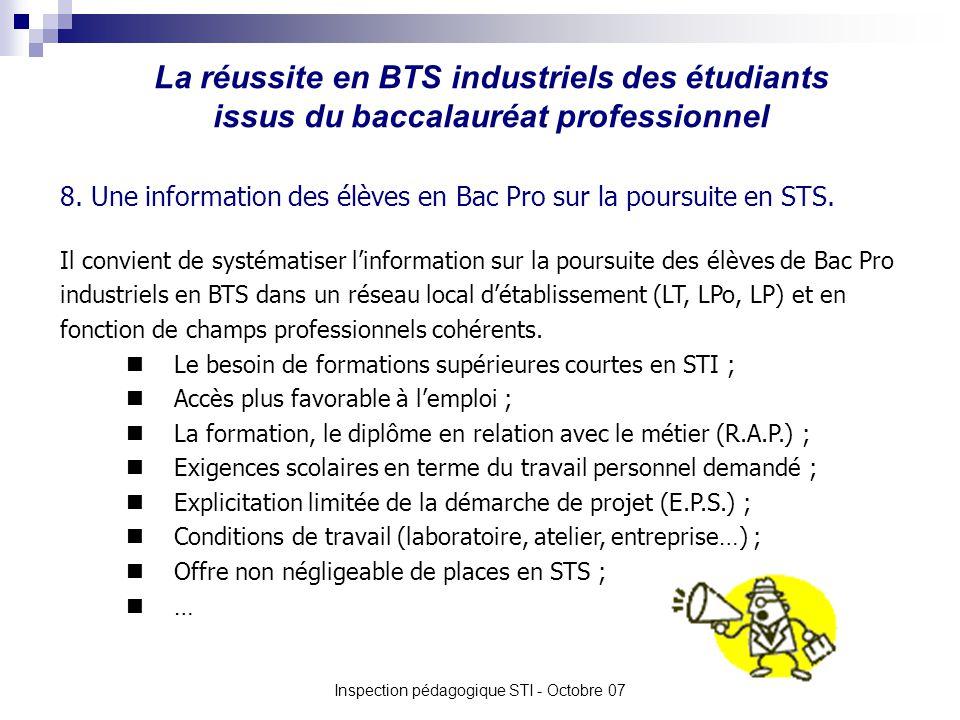 La réussite en BTS industriels des étudiants issus du baccalauréat professionnel Inspection pédagogique STI - Octobre 07 8.