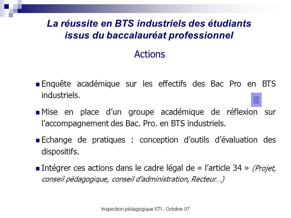 La réussite en BTS industriels des étudiants issus du baccalauréat professionnel Inspection pédagogique STI - Octobre 07 Enquête académique sur les effectifs des Bac Pro en BTS industriels.