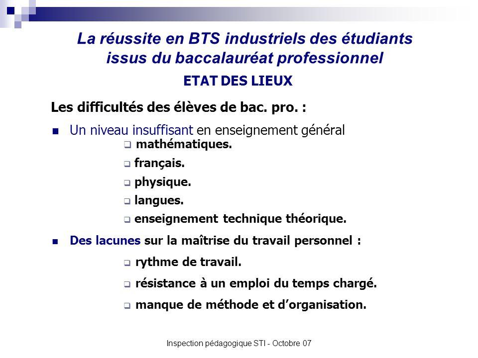 La réussite en BTS industriels des étudiants issus du baccalauréat professionnel Inspection pédagogique STI - Octobre 07 Un niveau insuffisant en enseignement général Les difficultés des élèves de bac.