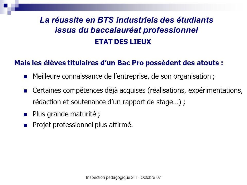 La réussite en BTS industriels des étudiants issus du baccalauréat professionnel Inspection pédagogique STI - Octobre 07 Meilleure connaissance de len