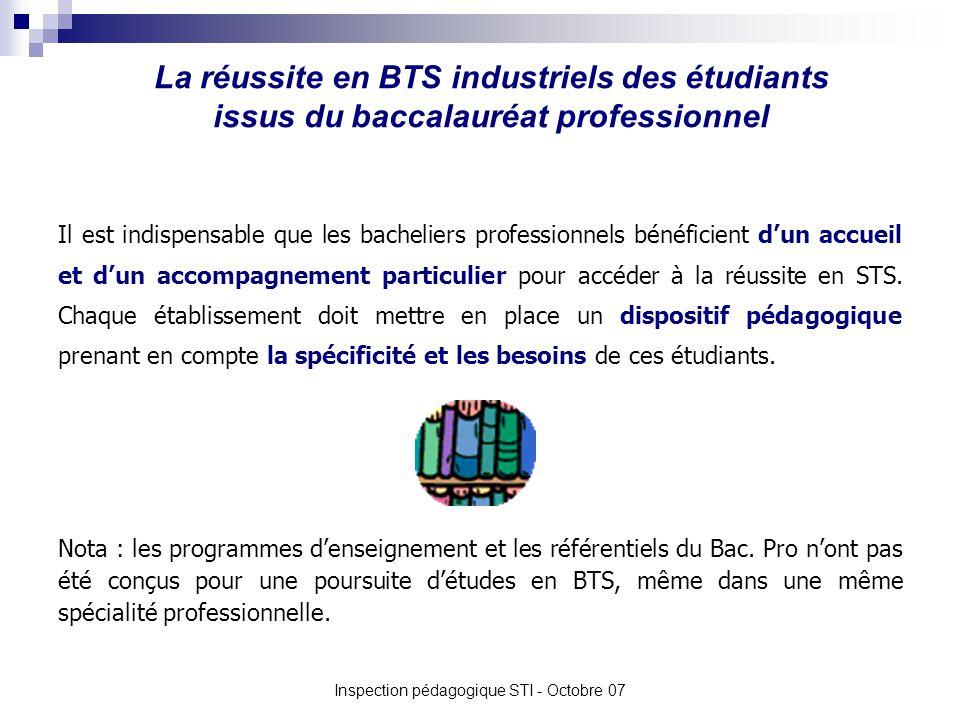 La réussite en BTS industriels des étudiants issus du baccalauréat professionnel Inspection pédagogique STI - Octobre 07 Il est indispensable que les bacheliers professionnels bénéficient dun accueil et dun accompagnement particulier pour accéder à la réussite en STS.