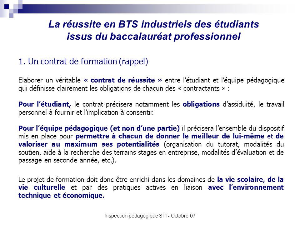 La réussite en BTS industriels des étudiants issus du baccalauréat professionnel Inspection pédagogique STI - Octobre 07 1. Un contrat de formation (r