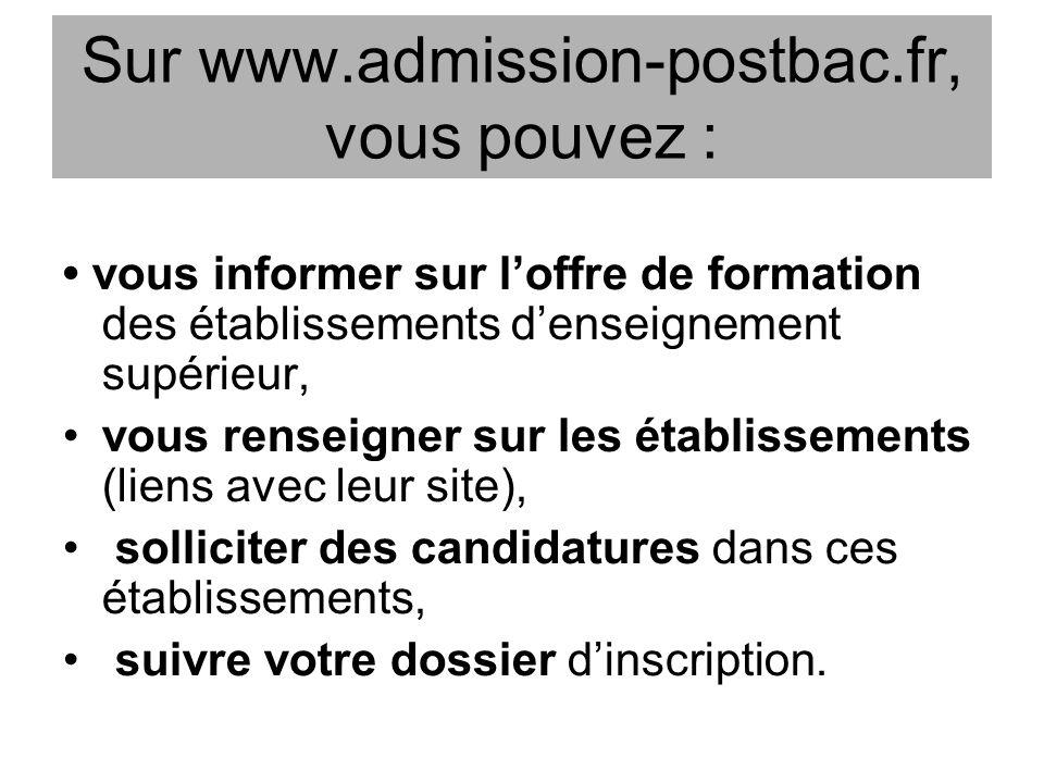 Sur www.admission-postbac.fr, vous pouvez : vous informer sur loffre de formation des établissements denseignement supérieur, vous renseigner sur les établissements (liens avec leur site), solliciter des candidatures dans ces établissements, suivre votre dossier dinscription.
