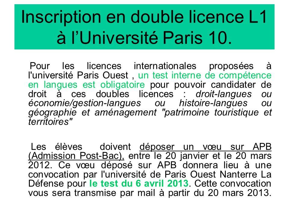 Inscription en double licence L1 à lUniversité Paris 10.