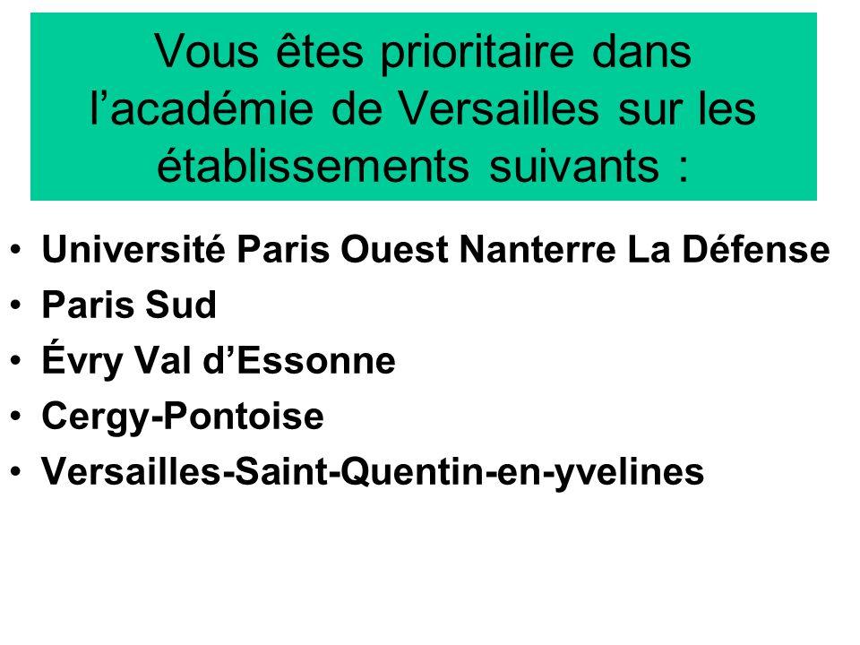 Vous êtes prioritaire dans lacadémie de Versailles sur les établissements suivants : Université Paris Ouest Nanterre La Défense Paris Sud Évry Val dEssonne Cergy-Pontoise Versailles-Saint-Quentin-en-yvelines