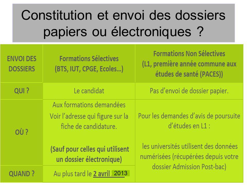 Constitution et envoi des dossiers papiers ou électroniques ? 2013
