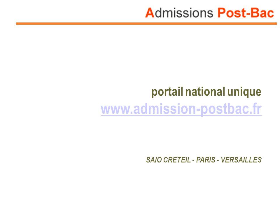 portail national unique www.admission-postbac.fr SAIO CRETEIL - PARIS - VERSAILLES