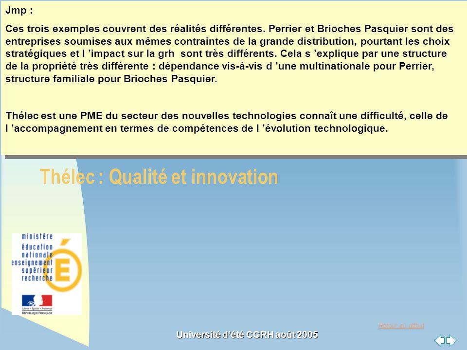 Retour au début Université dété CGRH août 2005 3 exemples Perrier : réduction des coûts ; Brioches Pasquier : Qualité et innovation ; Thélec : Qualité