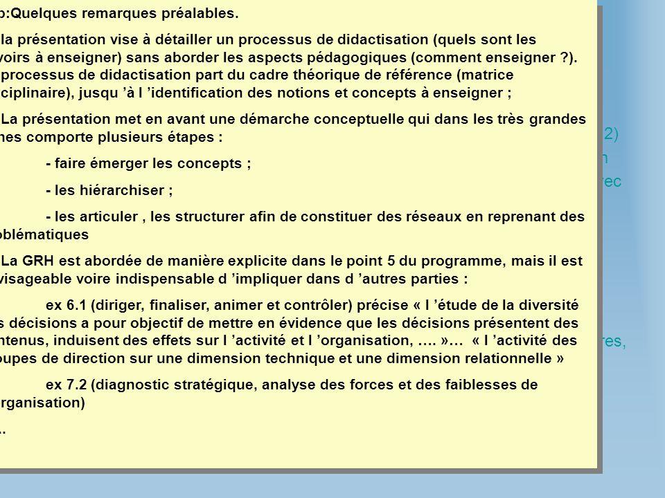 Cadre théorique : u relation compétitivité-emploi u démarche compétence Programme : u les différents acteurs et leurs rôles (5.1), la recherche de com