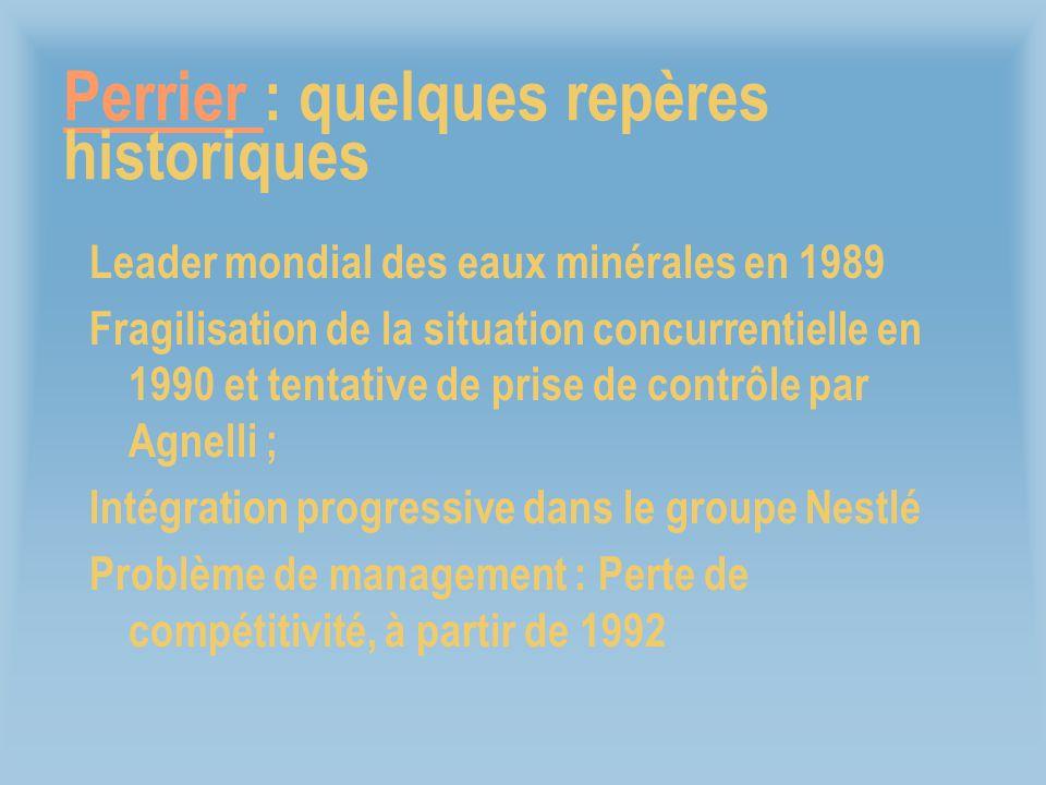 Perrier Perrier : quelques repères historiques Leader mondial des eaux minérales en 1989 Fragilisation de la situation concurrentielle en 1990 et tent