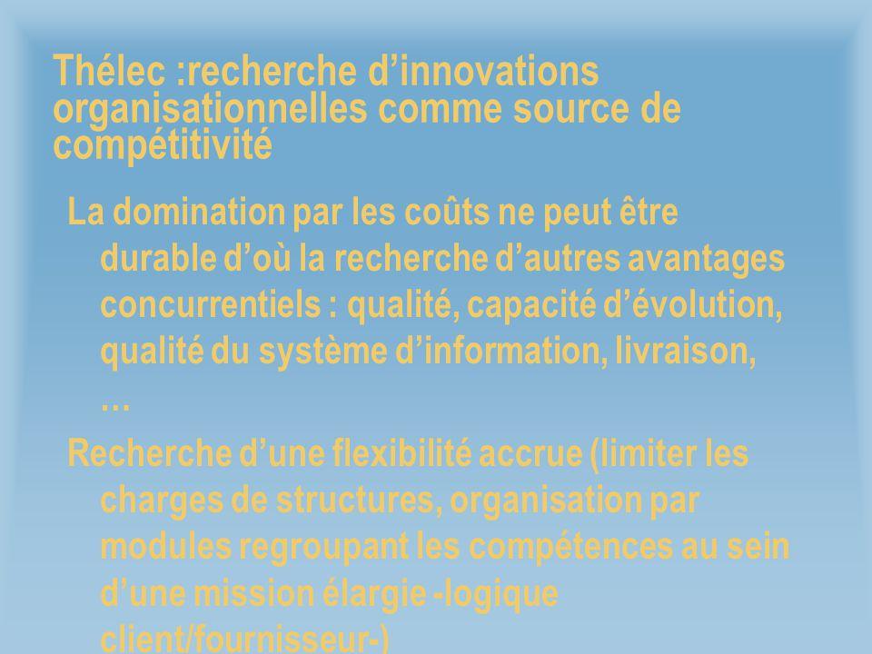 Thélec :recherche dinnovations organisationnelles comme source de compétitivité La domination par les coûts ne peut être durable doù la recherche daut
