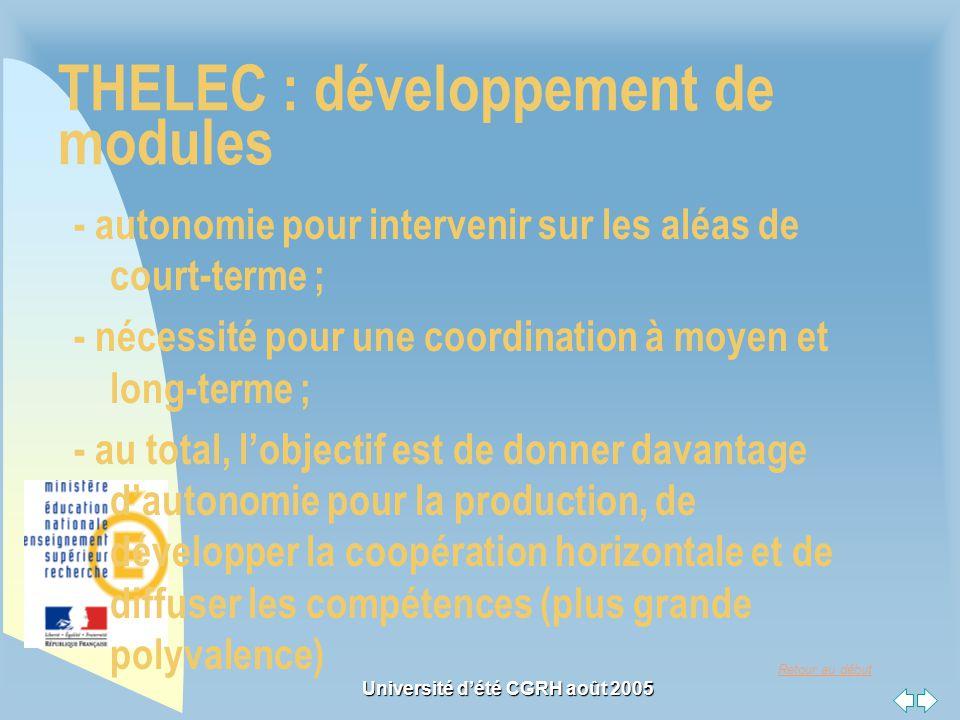 Retour au début Université dété CGRH août 2005 THELEC : développement de modules - autonomie pour intervenir sur les aléas de court-terme ; - nécessit