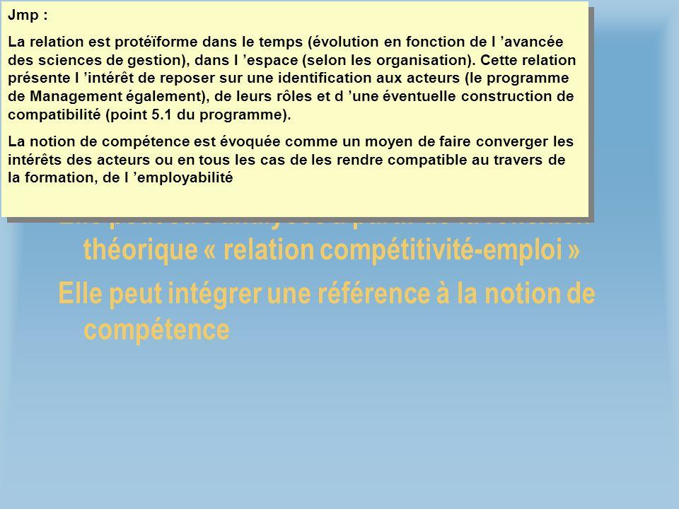 Liaison compétitivité-emploi Jmp : Le caractère statique ou dynamique se réfère au contenu des emplois (selon s il peut ou non évoluer).