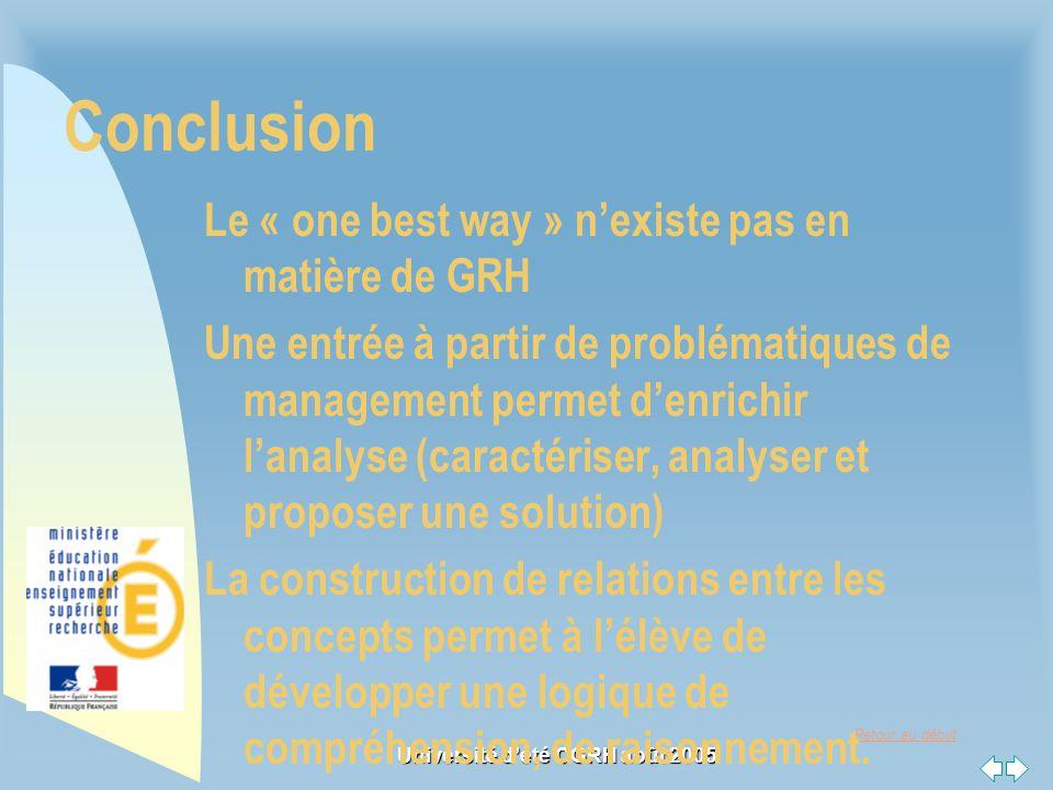 Retour au début Université dété CGRH août 2005 Conclusion Le « one best way » nexiste pas en matière de GRH Une entrée à partir de problématiques de m