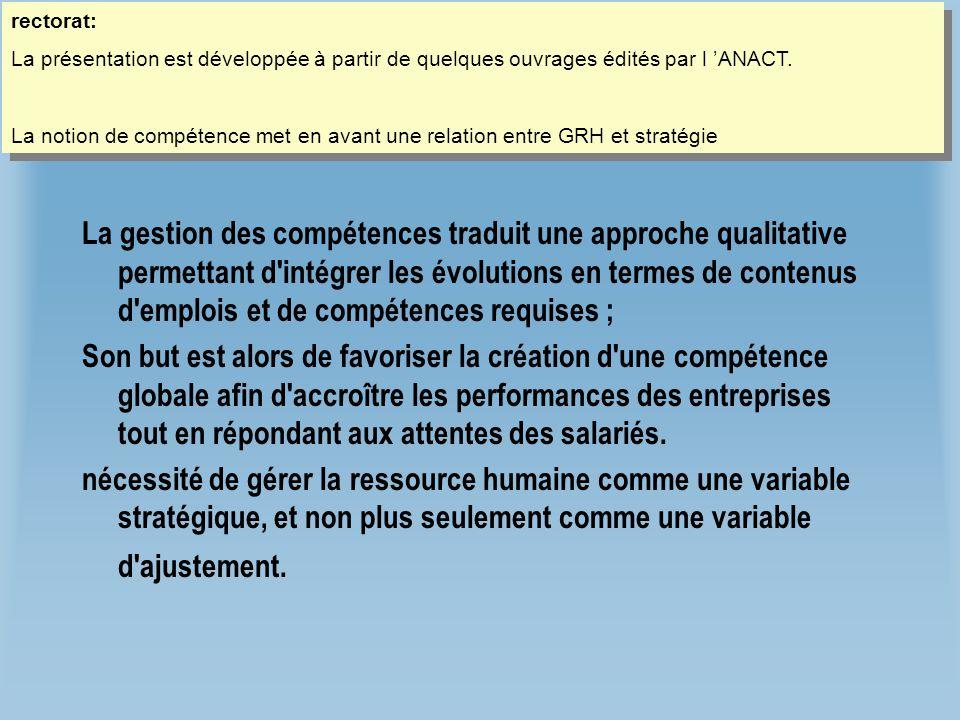 Gestion des compétences La gestion des compétences traduit une approche qualitative permettant d'intégrer les évolutions en termes de contenus d'emplo