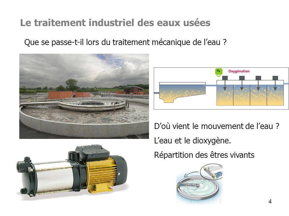 4 Le traitement industriel des eaux usées Que se passe-t-il lors du traitement mécanique de leau ? Doù vient le mouvement de leau ? Leau et le dioxygè
