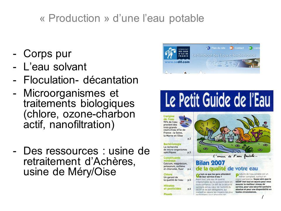 7 -Corps pur -Leau solvant -Floculation- décantation -Microorganismes et traitements biologiques (chlore, ozone-charbon actif, nanofiltration) -Des re