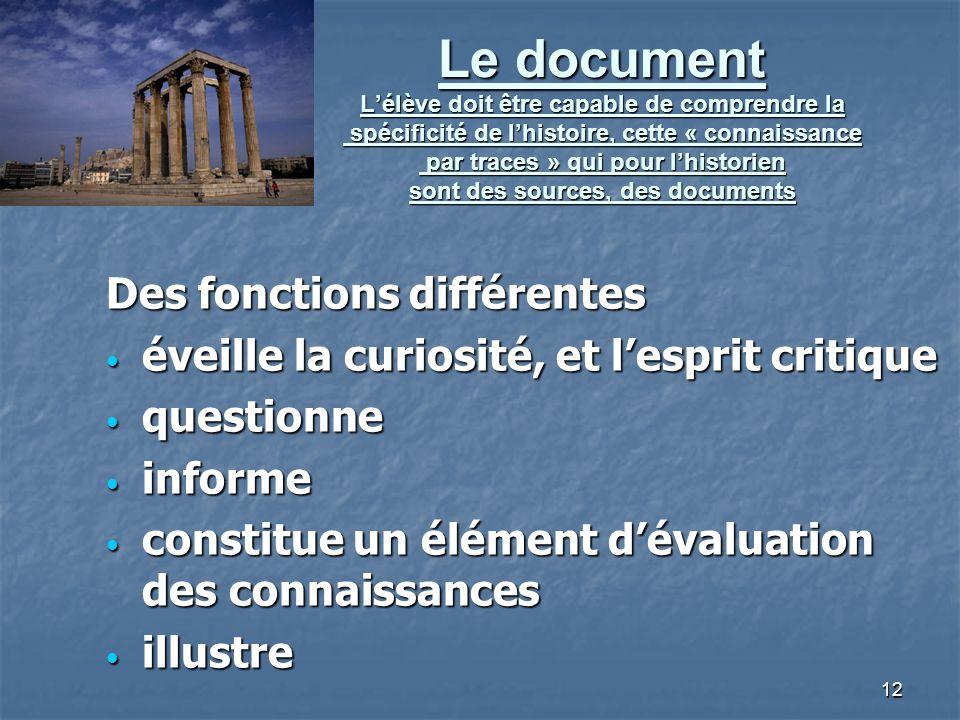 12 Le document Lélève doit être capable de comprendre la spécificité de lhistoire, cette « connaissance par traces » qui pour lhistorien sont des sour