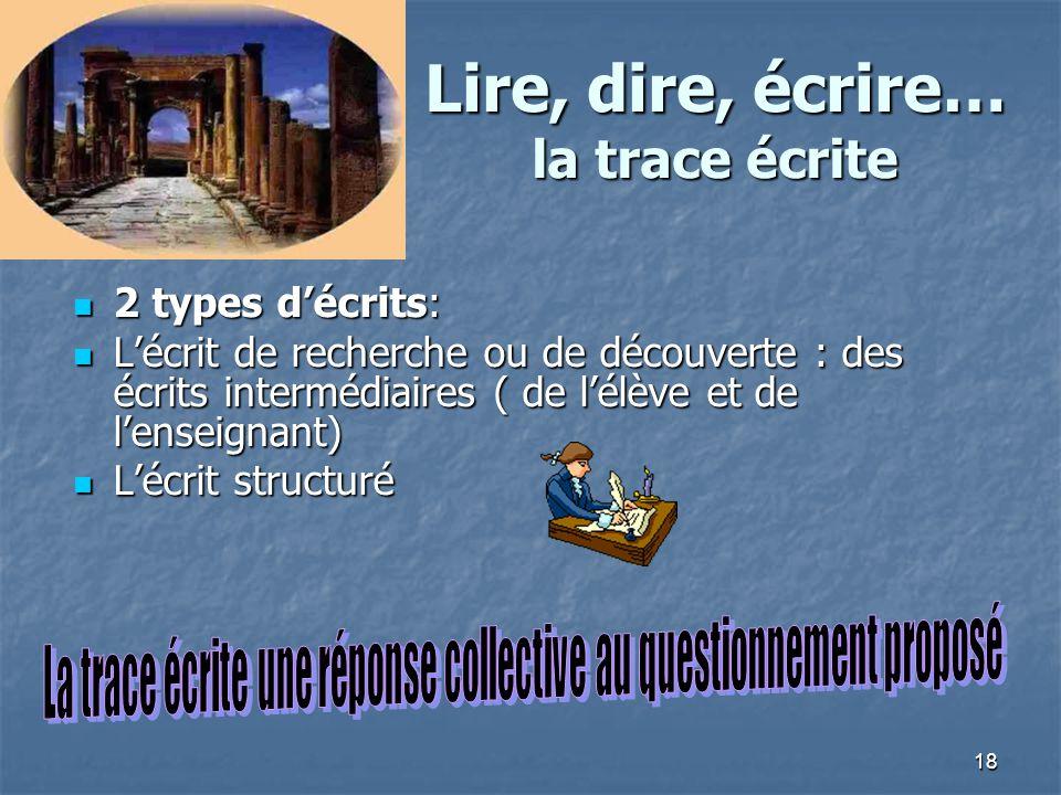 18 Lire, dire, écrire… la trace écrite 2 types décrits: 2 types décrits: Lécrit de recherche ou de découverte : des écrits intermédiaires ( de lélève
