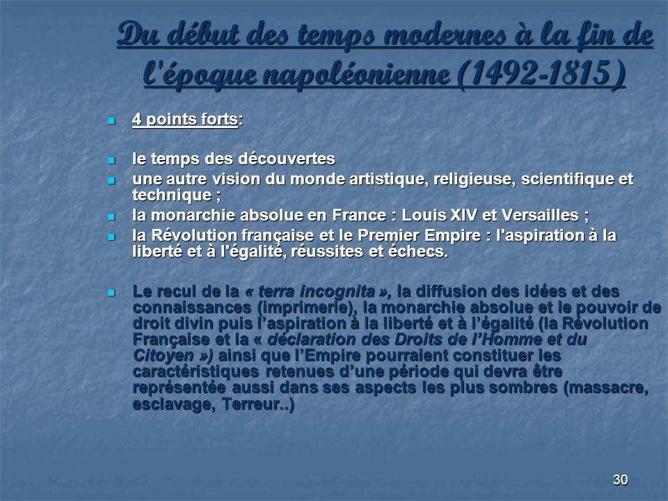 30 Du début des temps modernes à la fin de l'époque napoléonienne (1492-1815) 4 points forts: 4 points forts: le temps des découvertes le temps des dé