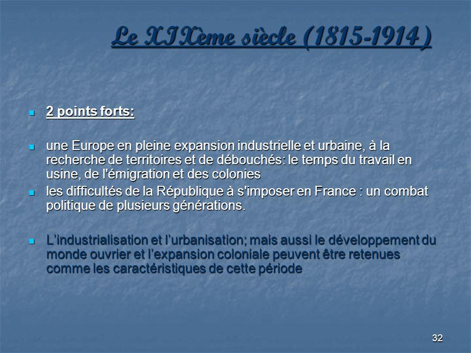 32 Le XIXème siècle (1815-1914) 2 points forts: 2 points forts: une Europe en pleine expansion industrielle et urbaine, à la recherche de territoires