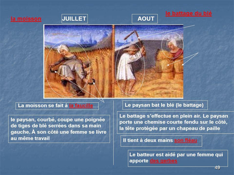 49 JUILLETAOUTla moisson La moisson se fait à la faucille … le paysan, courbé, coupe une poignée de tiges de blé serrées dans sa main gauche. À son cô