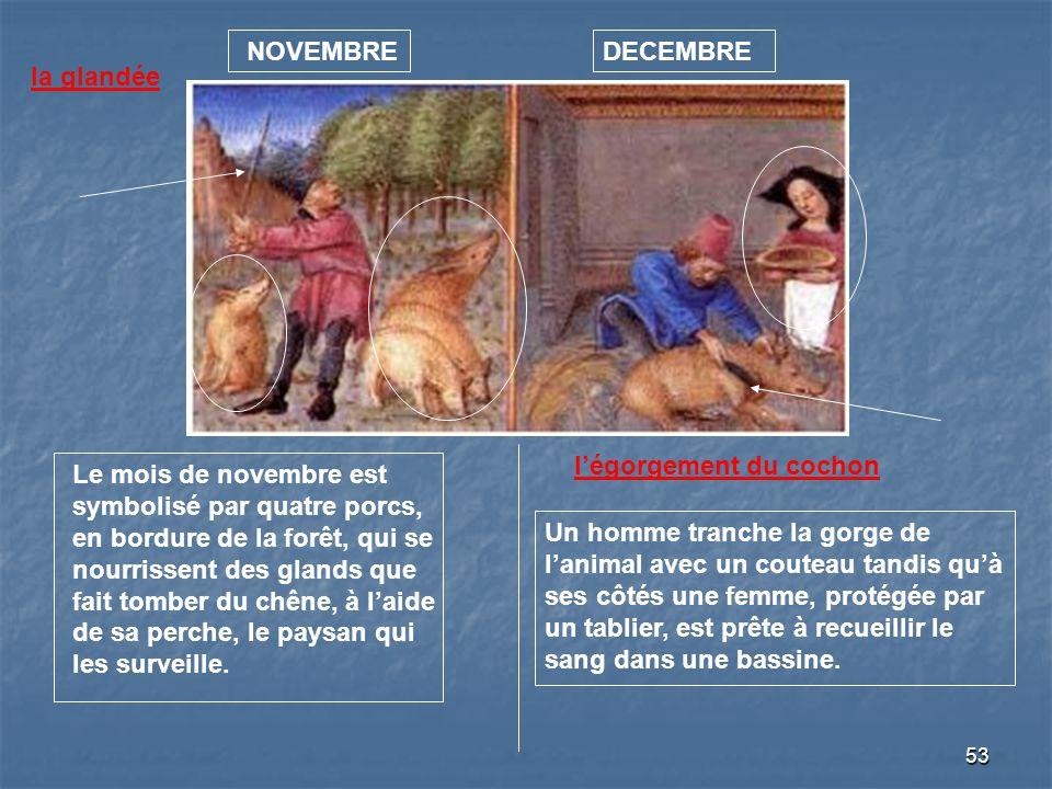 53 NOVEMBREDECEMBRE la glandée Le mois de novembre est symbolisé par quatre porcs, en bordure de la forêt, qui se nourrissent des glands que fait tomb