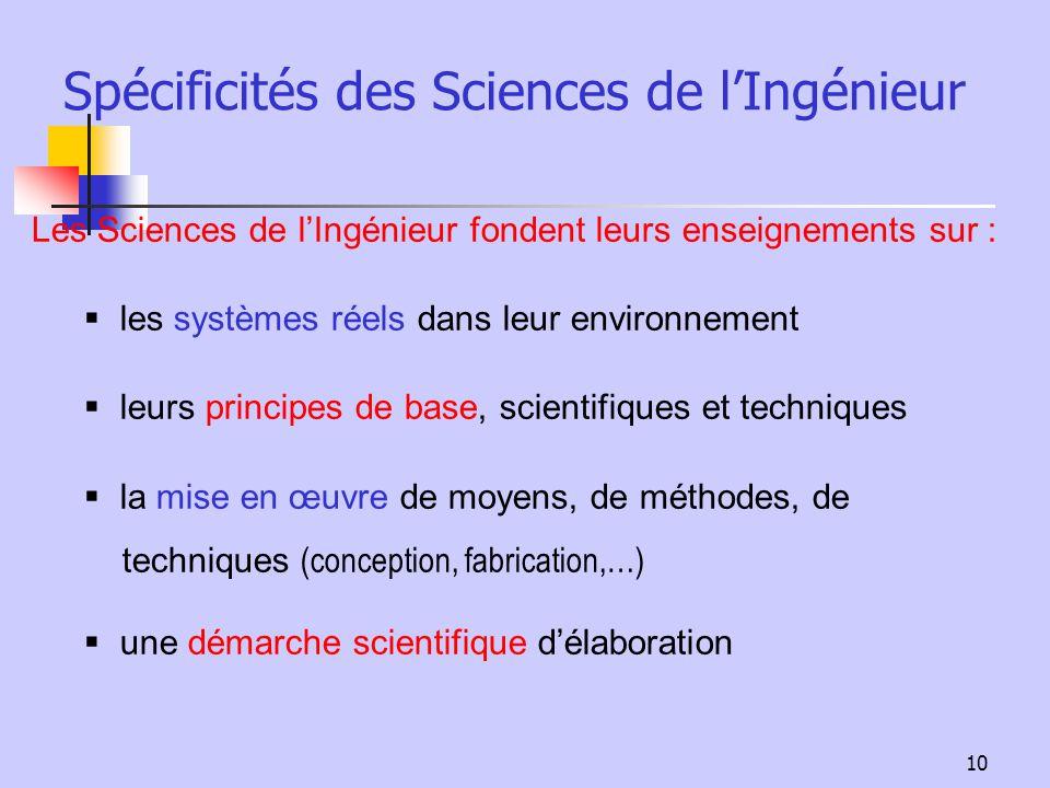 10 Spécificités des Sciences de lIngénieur Les Sciences de lIngénieur fondent leurs enseignements sur : les systèmes réels dans leur environnement leu