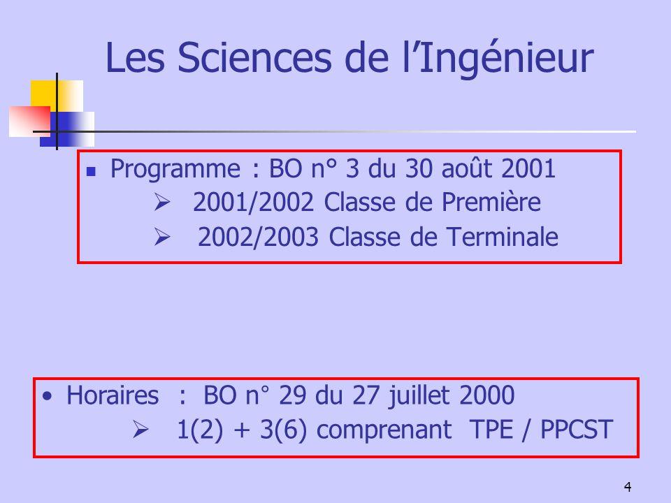 4 Les Sciences de lIngénieur Programme : BO n° 3 du 30 août 2001 2001/2002 Classe de Première 2002/2003 Classe de Terminale Horaires : BO n° 29 du 27