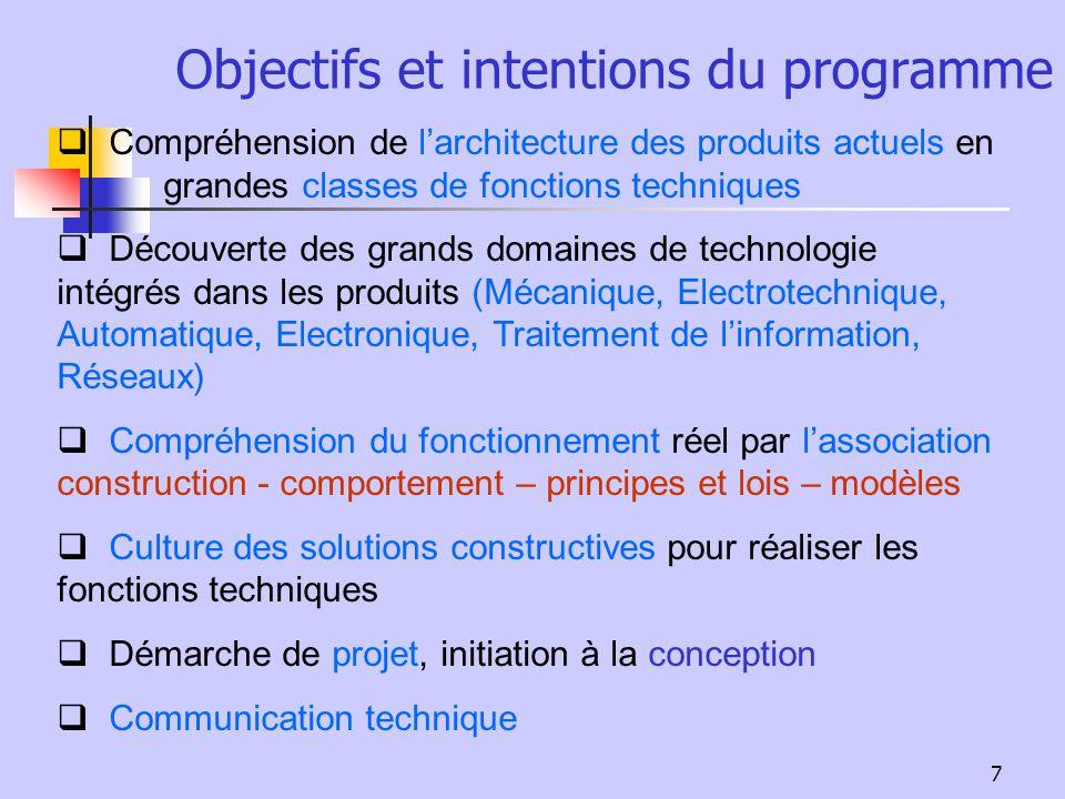 7 Objectifs et intentions du programme Compréhension de larchitecture des produits actuels en grandes classes de fonctions techniques Découverte des g