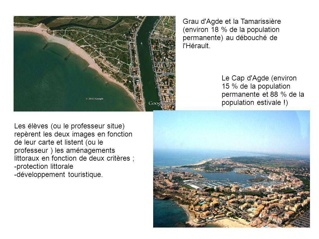Les élèves (ou le professeur situe) repèrent les deux images en fonction de leur carte et listent (ou le professeur ) les aménagements littoraux en fonction de deux critères ; -protection littorale -développement touristique.