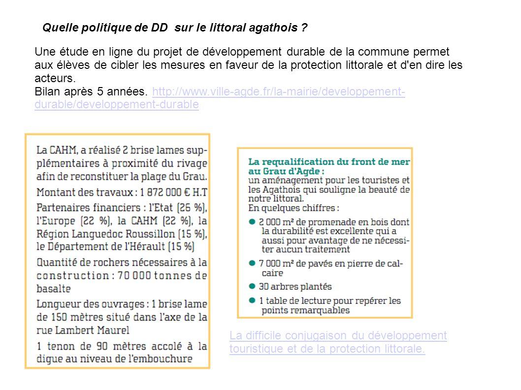 Une étude en ligne du projet de développement durable de la commune permet aux élèves de cibler les mesures en faveur de la protection littorale et d en dire les acteurs.