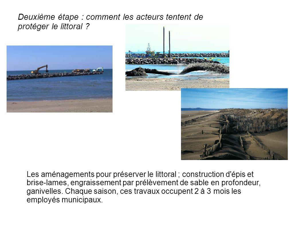 Les aménagements pour préserver le littoral ; construction d épis et brise-lames, engraissement par prélèvement de sable en profondeur, ganivelles.