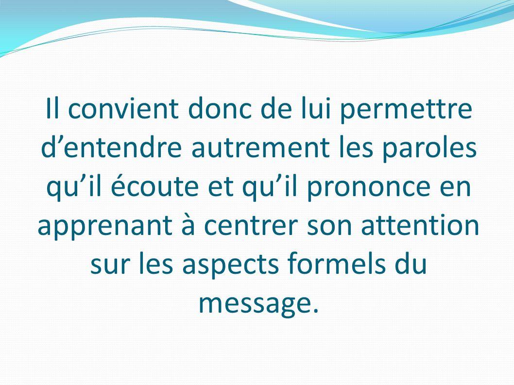 Il convient donc de lui permettre dentendre autrement les paroles quil écoute et quil prononce en apprenant à centrer son attention sur les aspects formels du message.