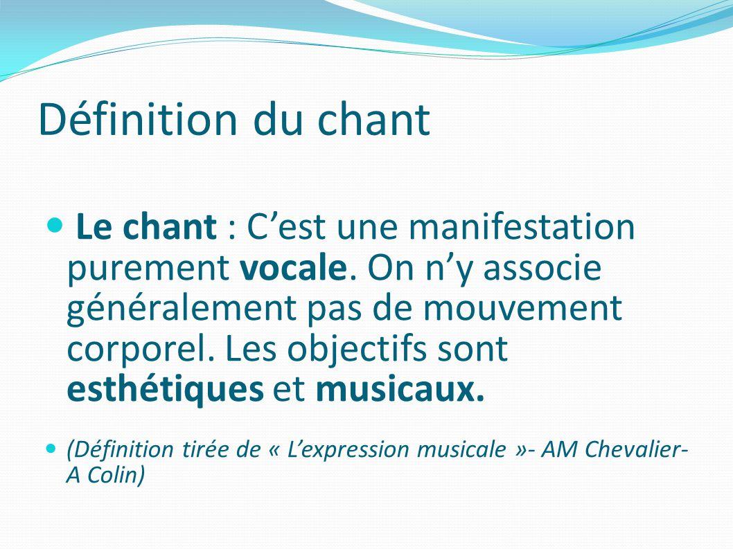 Définition du chant Le chant : Cest une manifestation purement vocale.