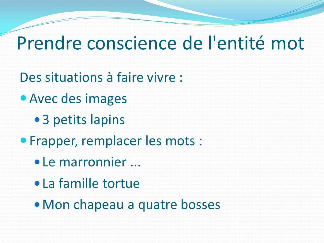 Prendre conscience de l entité mot Des situations à faire vivre : Avec des images 3 petits lapins Frapper, remplacer les mots : Le marronnier...