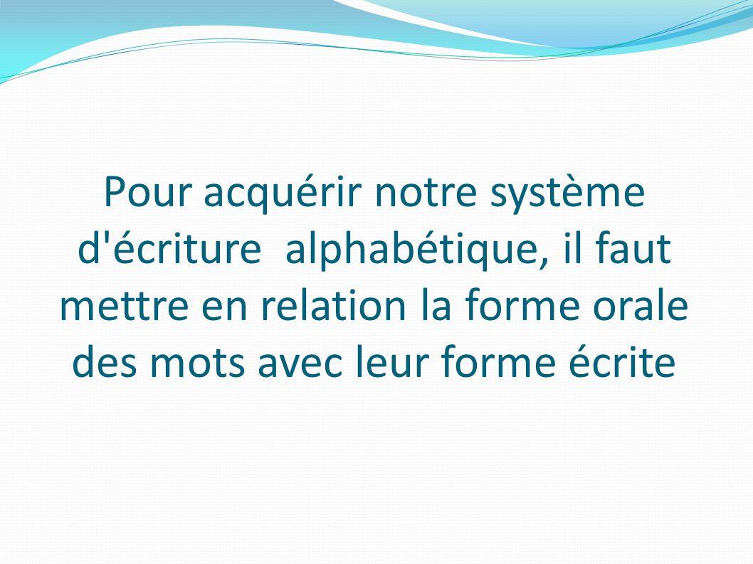 Pour acquérir notre système d écriture alphabétique, il faut mettre en relation la forme orale des mots avec leur forme écrite