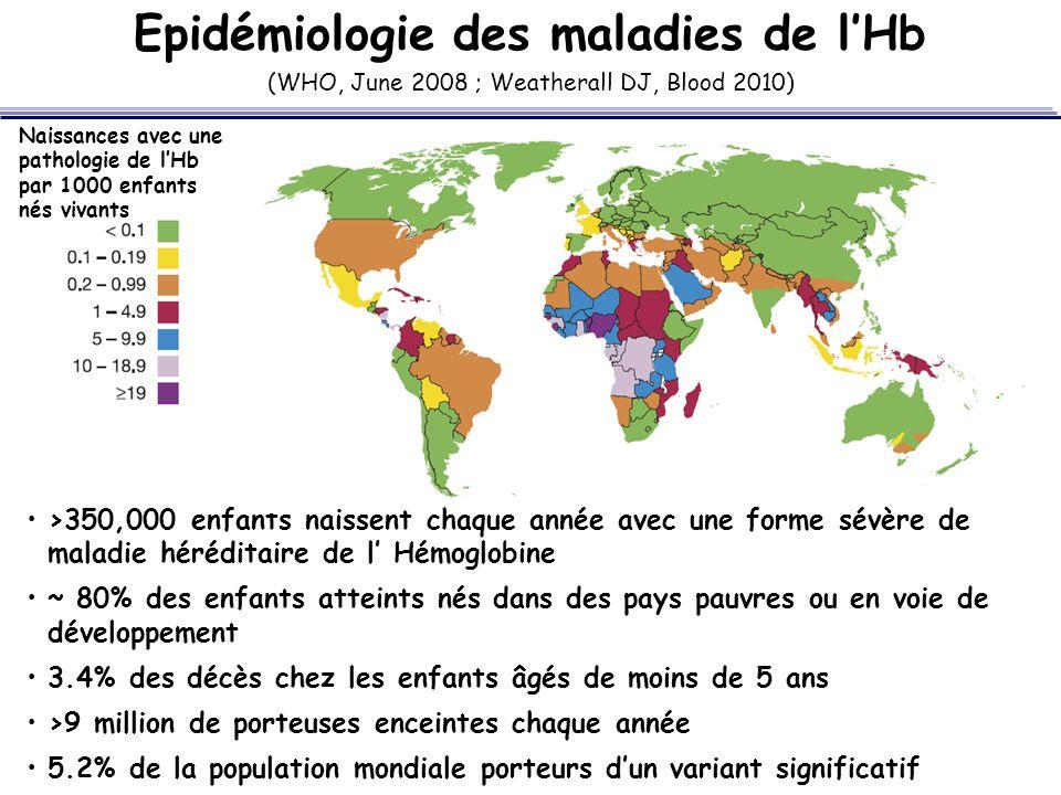 Epidémiologie des maladies de lHb >350,000 enfants naissent chaque année avec une forme sévère de maladie héréditaire de l Hémoglobine ~ 80% des enfan