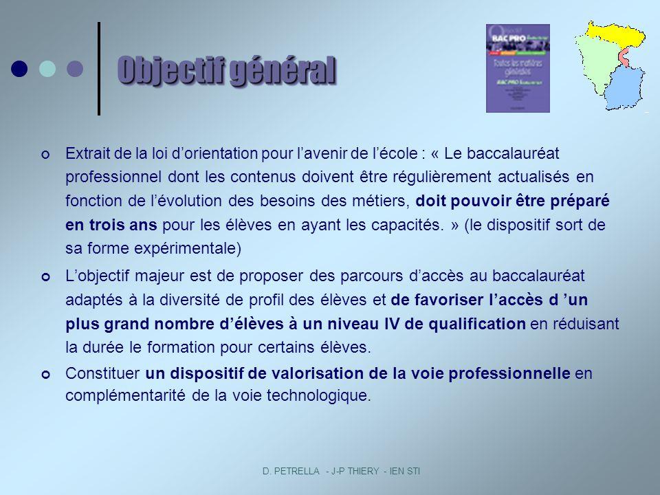 D. PETRELLA - J-P THIERY - IEN STI Objectif général Extrait de la loi dorientation pour lavenir de lécole : « Le baccalauréat professionnel dont les c