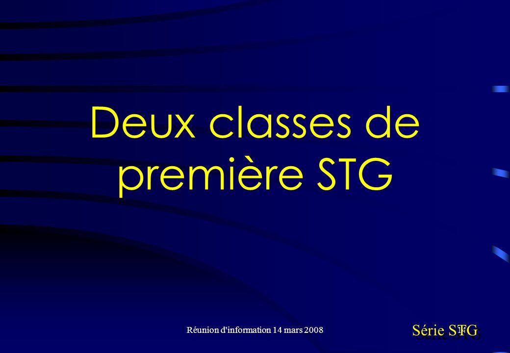 Réunion d information 14 mars 200814 Deux classes de première STG Série STG