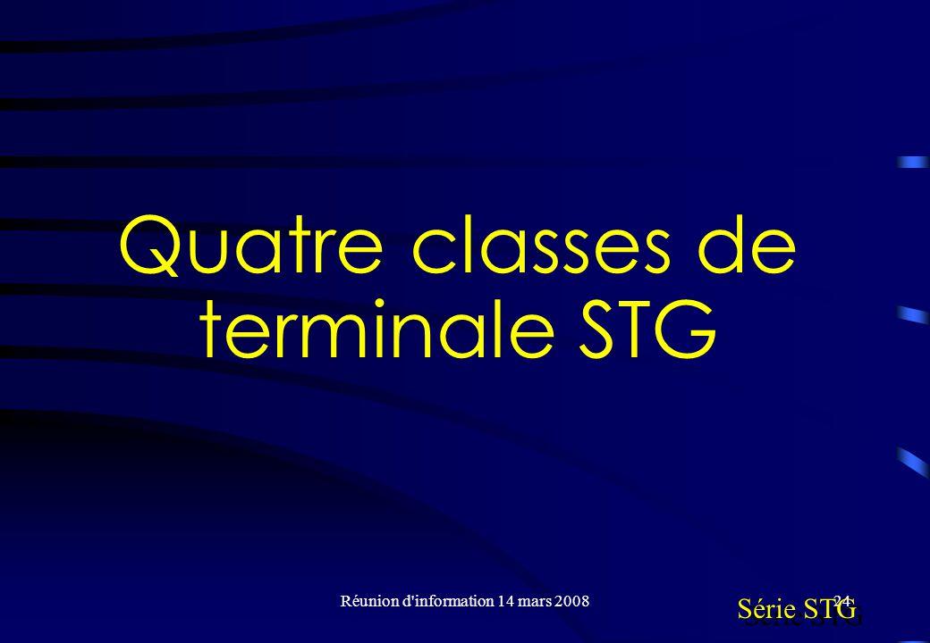 Réunion d information 14 mars 200824 Quatre classes de terminale STG Série STG