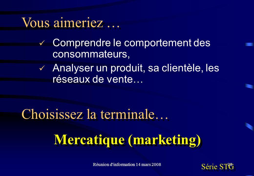 Réunion d information 14 mars 200828 Comprendre le comportement des consommateurs, Analyser un produit, sa clientèle, les réseaux de vente… Vous aimeriez … Choisissez la terminale… Mercatique (marketing) Mercatique (marketing) Série STG