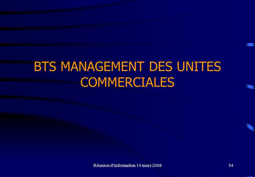 Réunion d information 14 mars 200854 BTS MANAGEMENT DES UNITES COMMERCIALES