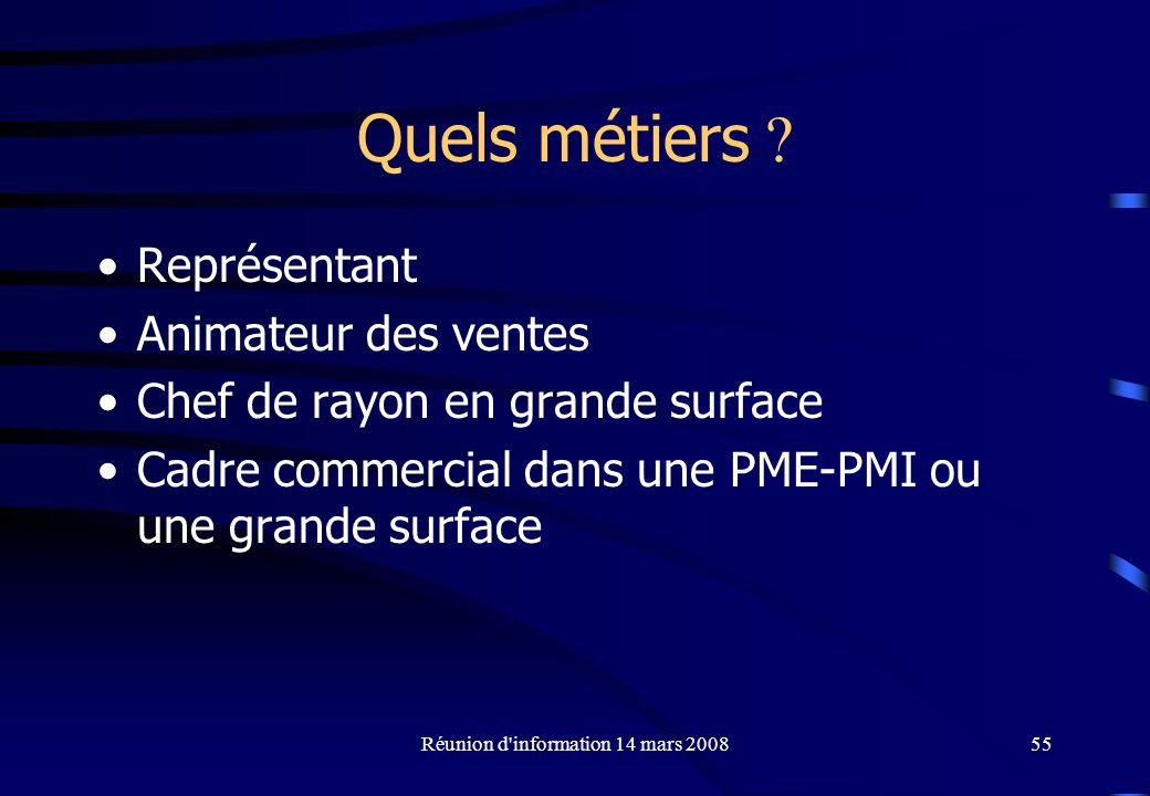 Réunion d information 14 mars 200855 Quels métiers .