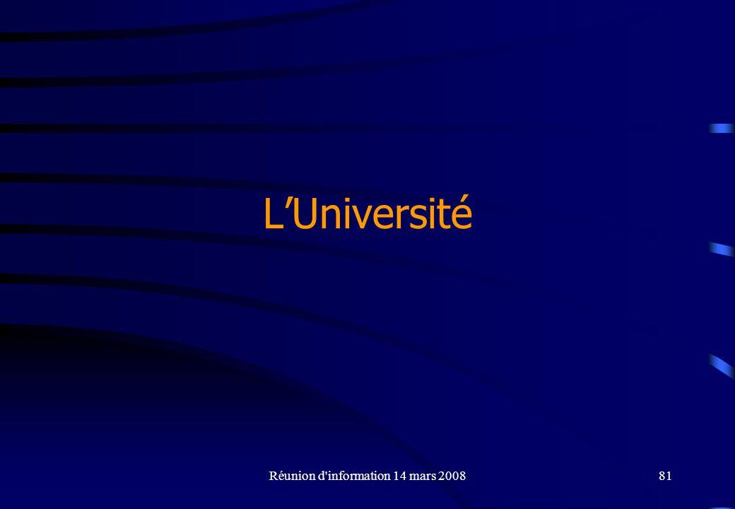 Réunion d information 14 mars 200881 LUniversité