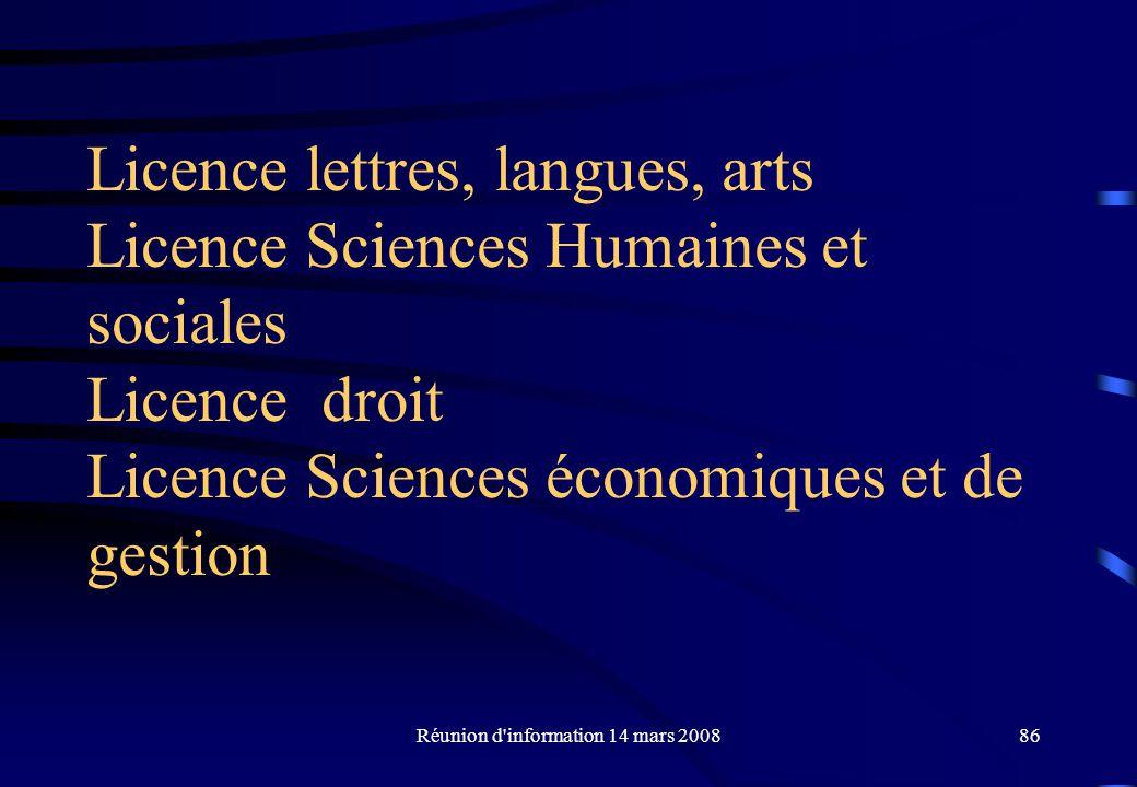 Réunion d information 14 mars 200886 Licence lettres, langues, arts Licence Sciences Humaines et sociales Licence droit Licence Sciences économiques et de gestion