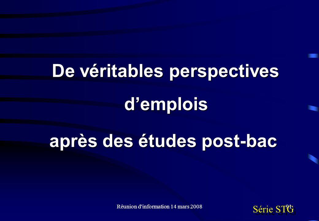 Réunion d information 14 mars 200891 Série STG De véritables perspectives demplois après des études post-bac