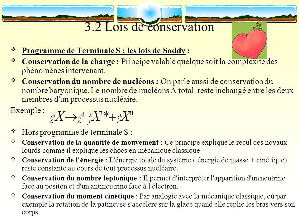 3.2 Lois de conservation Programme de Terminale S : les lois de Soddy : Conservation de la charge : Principe valable quelque soit la complexité des ph