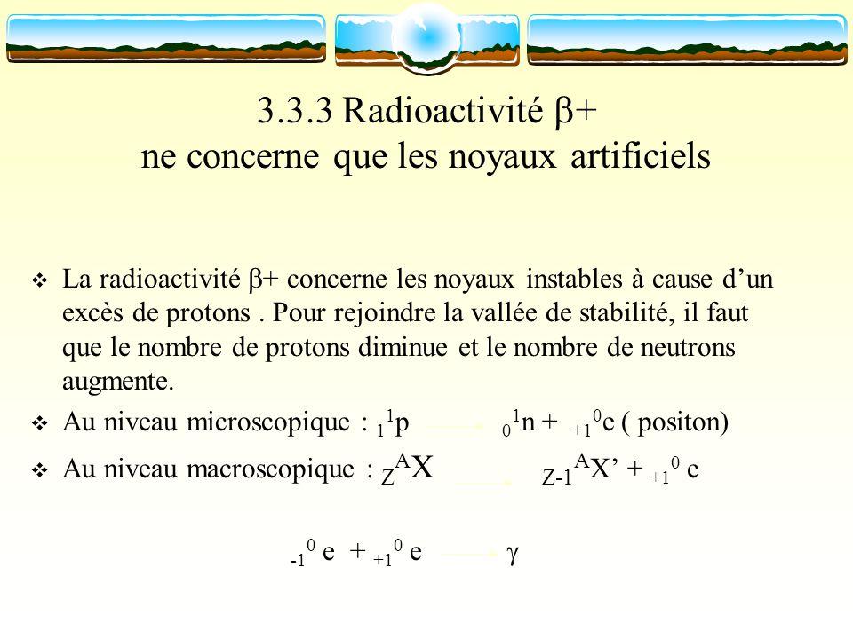 3.3.3 Radioactivité + ne concerne que les noyaux artificiels La radioactivité + concerne les noyaux instables à cause dun excès de protons. Pour rejoi